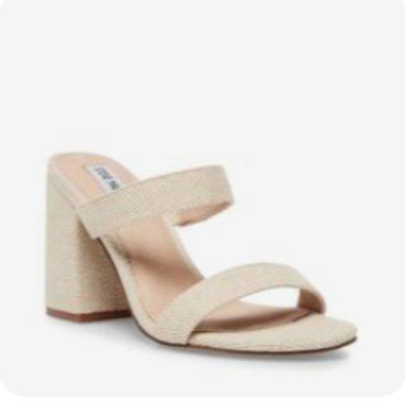 Steve Madden - Block Heel Lounge Sandal (Size: 8, Colour: Natural) - NEW IN BOX